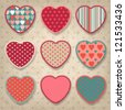 Retro background of vintage design with hearts. - stock vector