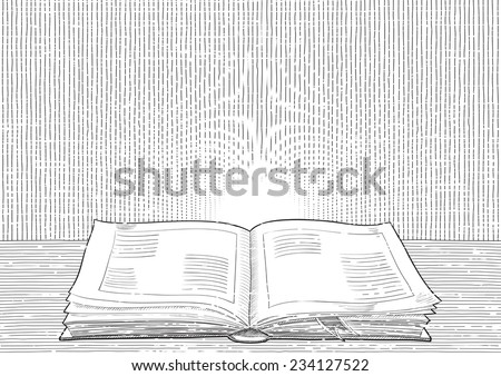 Retro background. Vector background with old  book at engraving style.   - stock vector