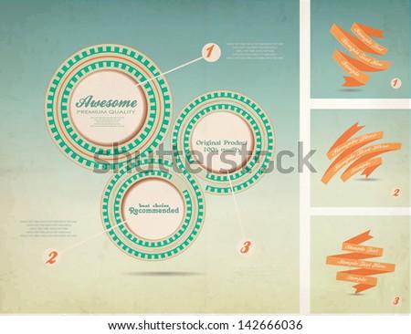 retro background, vintage presentation and web design - stock vector
