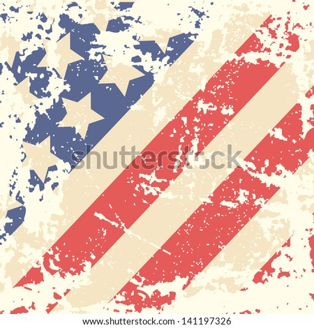 Retro background with american flag. Vector illustration - stock vector