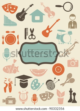 retro background with art icons and blank banner - stock vector