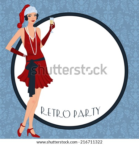 Retro background with flapper girl,  retro Christmas or New Year party invitation design in 20's style - stock vector
