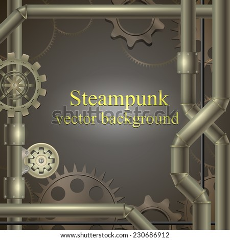 retro background with gears Steampunk. vector illustration - stock vector