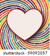 retro background with heart shape card - stock vector
