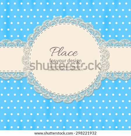 retro background with lace and polkadot shower frame
