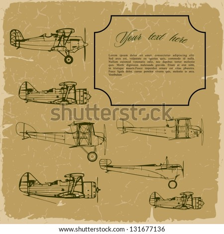 Retro background with old airplanes on vintage old paper. Plus three objects  cracked surface. Grunge effects can be removed. - stock vector