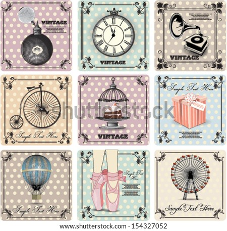 retro backgrounds and vintage labels - stock vector