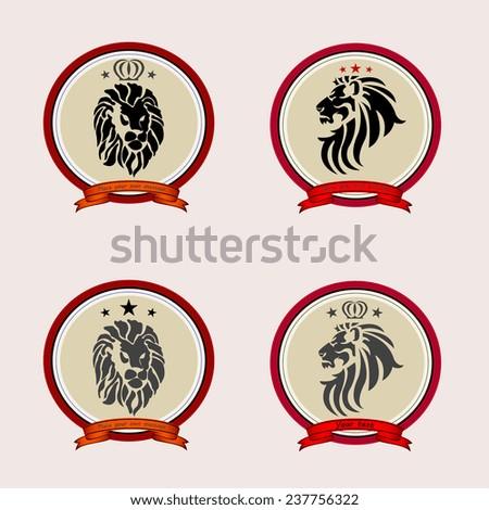 Retro badge with lion. Vector illustration. Lion head - stock vector