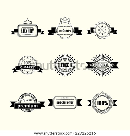 retro badges and labels isolated on white background - stock vector