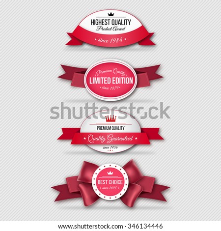 Retro badges with red ribbons - stock vector