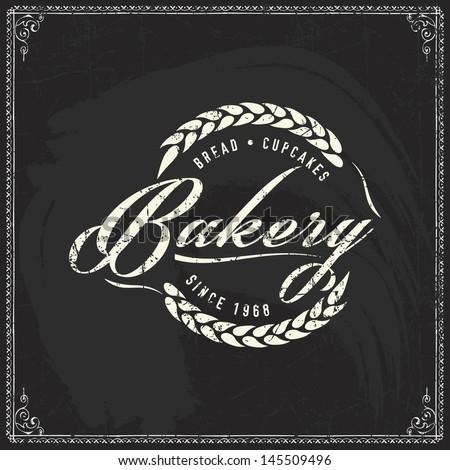 Retro bakery labels for vintage design, Chalk typography design on blackboard - stock vector