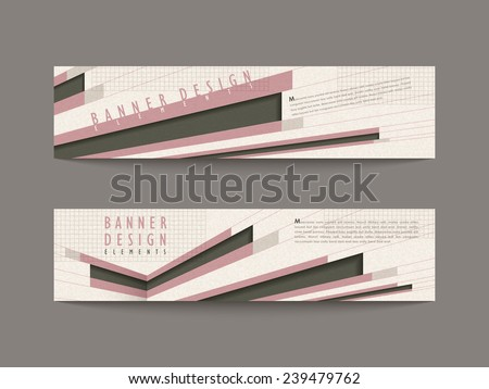 retro banner design elements in pink and black - stock vector
