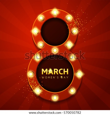 Retro Banner Womens Day Symbol Holiday Stock Vector 2018 570050782