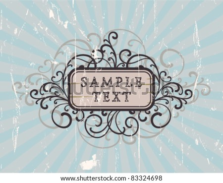Retro banner on a striped dirty background - stock vector