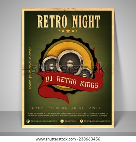 Retro banner or flyer for retro night with address bar, place holder and mailer. - stock vector