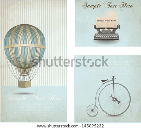 retro banners set with vintage elements - stock vector