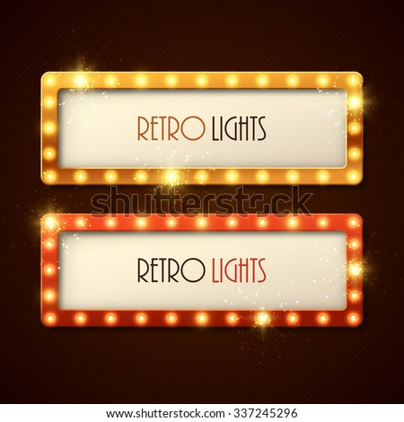 Retro banners with shining lights. Vector illustration. - stock vector