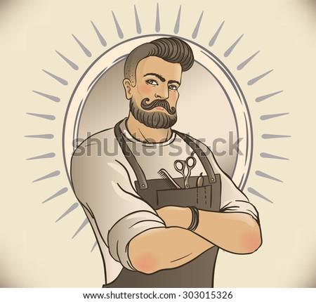 Retro Barber Shop Vintage Template. Vector illustration with barber's portrait. - stock vector