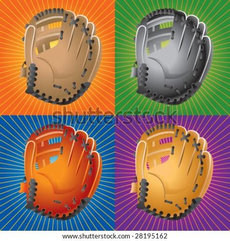 retro baseball glove - stock vector