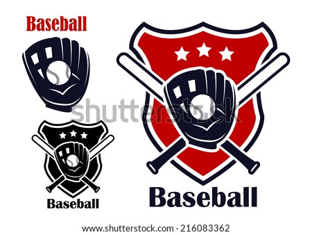 Retro baseball sport emblems or logos with ball stars bats,  glove and shield isolated on white. For recreation  sports or logo design. - stock vector
