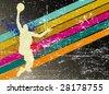 retro basketball poster - stock vector