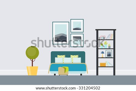 Retro Bedroom With Upholstered Double Bed Vintage Ladder Triptych Creative Concept Interior