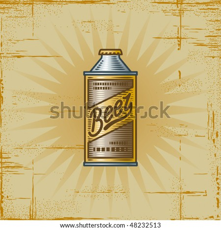 Retro Beer Can. Vector - stock vector