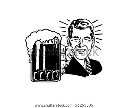 Retro Beer Guy - Clip Art - stock vector