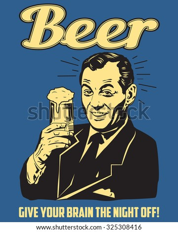 Retro Beer Guy. Old poster. Smiling man holding a glass of beer. Vector Illustration - stock vector