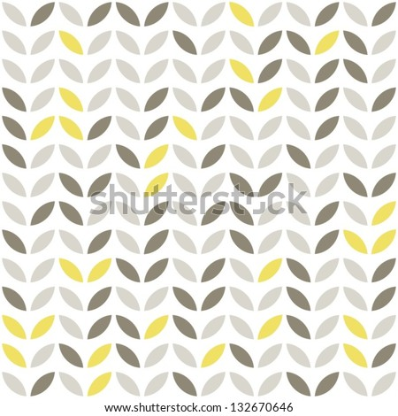 retro beige yellow brown leaves shaped elements in rows on white background abstract geometric seamless pattern - stock vector