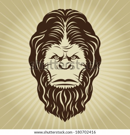 Retro Bigfoot Yeti Head Illustration - stock vector