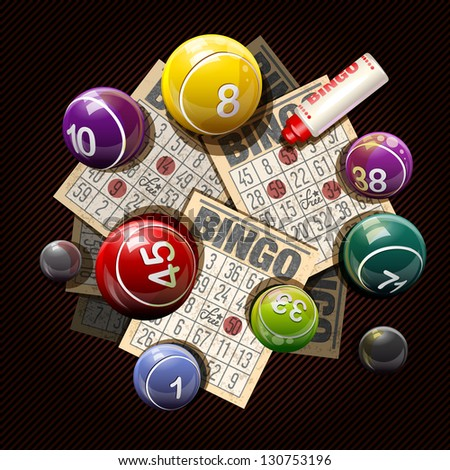 Retro bingo or lottery balls and cards - stock vector