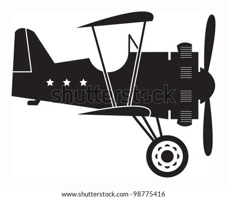 Retro biplane, vector illustration - stock vector