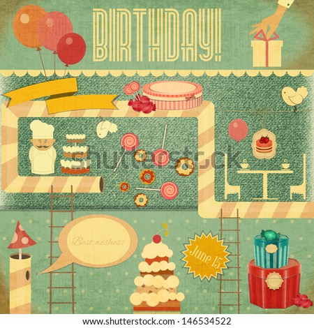 Retro Birthday Card. Set of Birthday Objects in Vintage Style. Vector Illustration. - stock vector