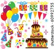Retro Birthday Celebration Collection - stock photo