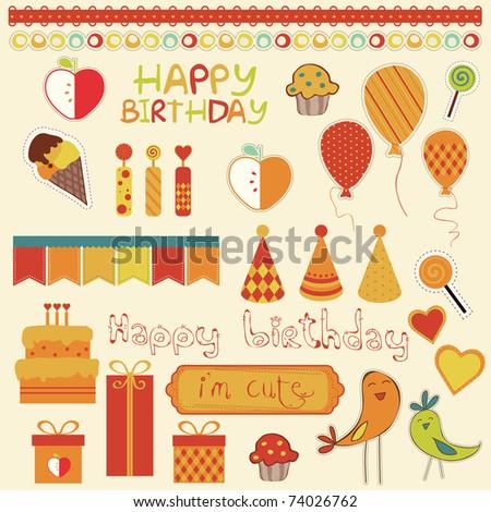 Retro Birthday Celebration Design Elements - stock vector