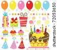 Retro Birthday Celebration Set - stock vector