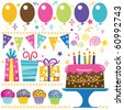 Retro Birthday Elements - stock vector
