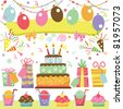 Retro Birthday Party Set - stock vector