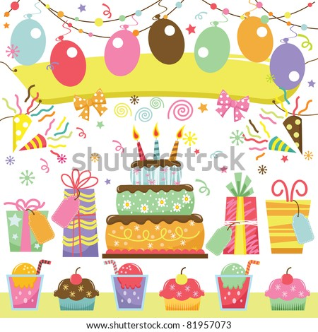 Retro Birthday Party Set - stock vector