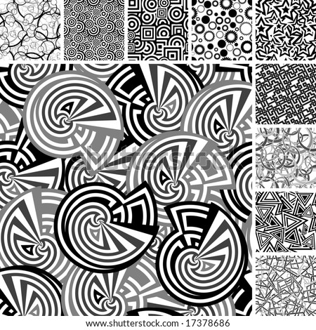 Retro black and white seamless backgrounds - stock vector