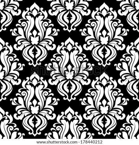 Retro black and white seamless pattern background in damask style for textile design - stock vector