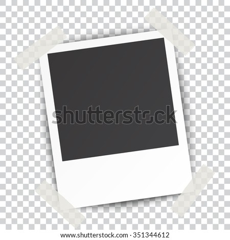 Retro blank photography with a black place for your image in a photo album page. photo frame with shadow Sticked on Duct Tape on a transparent background for your object. Vector illustration - stock vector