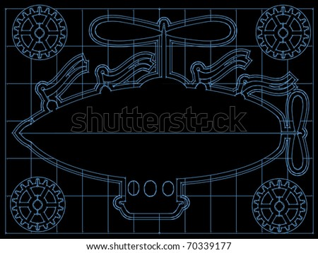 Retro blimp style ship on back and blue blueprint style layout editable vector illustration