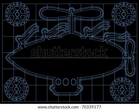Retro blimp style ship on back and blue blueprint style layout editable vector illustration - stock vector