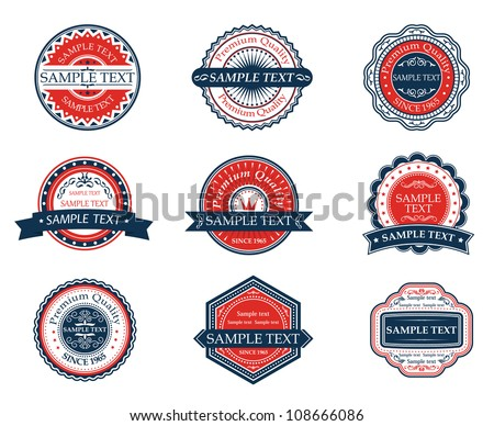 Retro blue and red labels set for sticker, tag, emblem or banner design. Jpeg version also available in gallery - stock vector