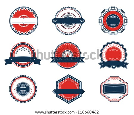 Retro blue and red labels set for sticker, tag, emblem or banner design, such a template. Jpeg version also available in gallery - stock vector