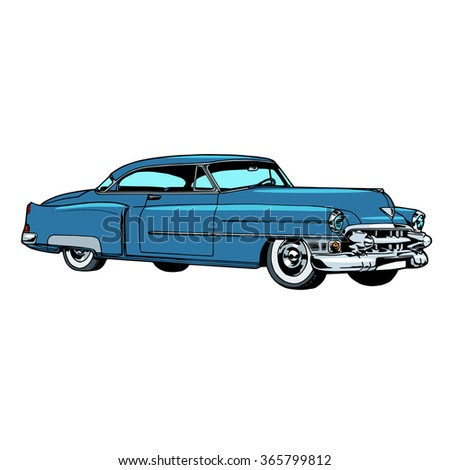 Retro blue car classic abstract model