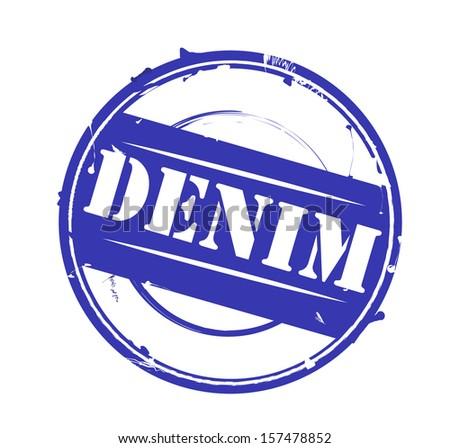 "Retro blue round rubber stamp ""Denim"" VECTOR - stock vector"