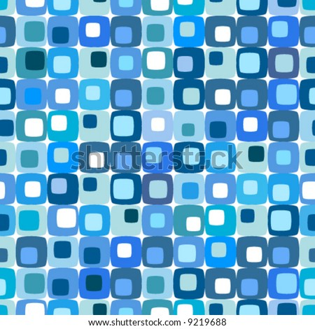 Retro blue square pattern, tiles in any direction. - stock vector